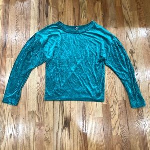 Free People Green Velvet Long Sleeve Top